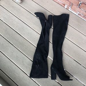 Black Over-The-Knee open toe high heel boots